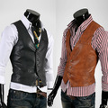Men leather Vests Slim Fit Brand-Clothing Solid Waistcoat Sleeveless Cowboy Vest Gilet Homme Colete Erkek Yelek Ceket K217