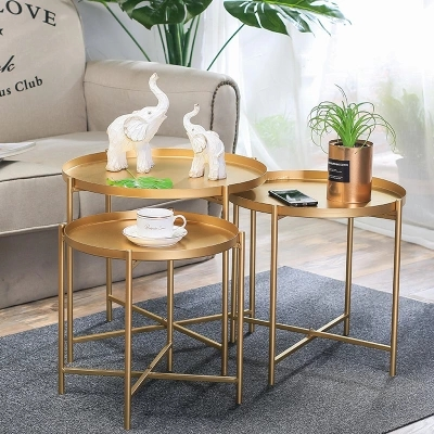 Plateau nordique en fer forgé petite table canapé Simple bord fer forgé plateau table basse pliante petite table ronde
