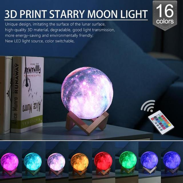 16 Colors Night Light 3D Print Star Moon Lamp Colorful Change Planet Lamp Home Decoration Creative Gift Starry Sky Space Lamp