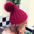 Korean cute ovo ball thick warm hat ear wool knitted hat fashion lady autumn winter solid color hats