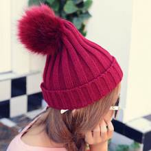 Корейский мило ово мяч толщиной теплую шапку уха шерсть вязаная шапка мода леди осень зима сплошной цвет шляпы
