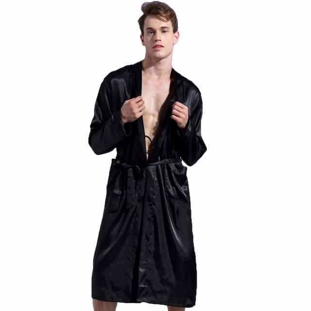 1844Brand Long Robe Emulation Silk Soft Home Bathrobe Plus Size S-XXL  Nightgown For Men 31810466e