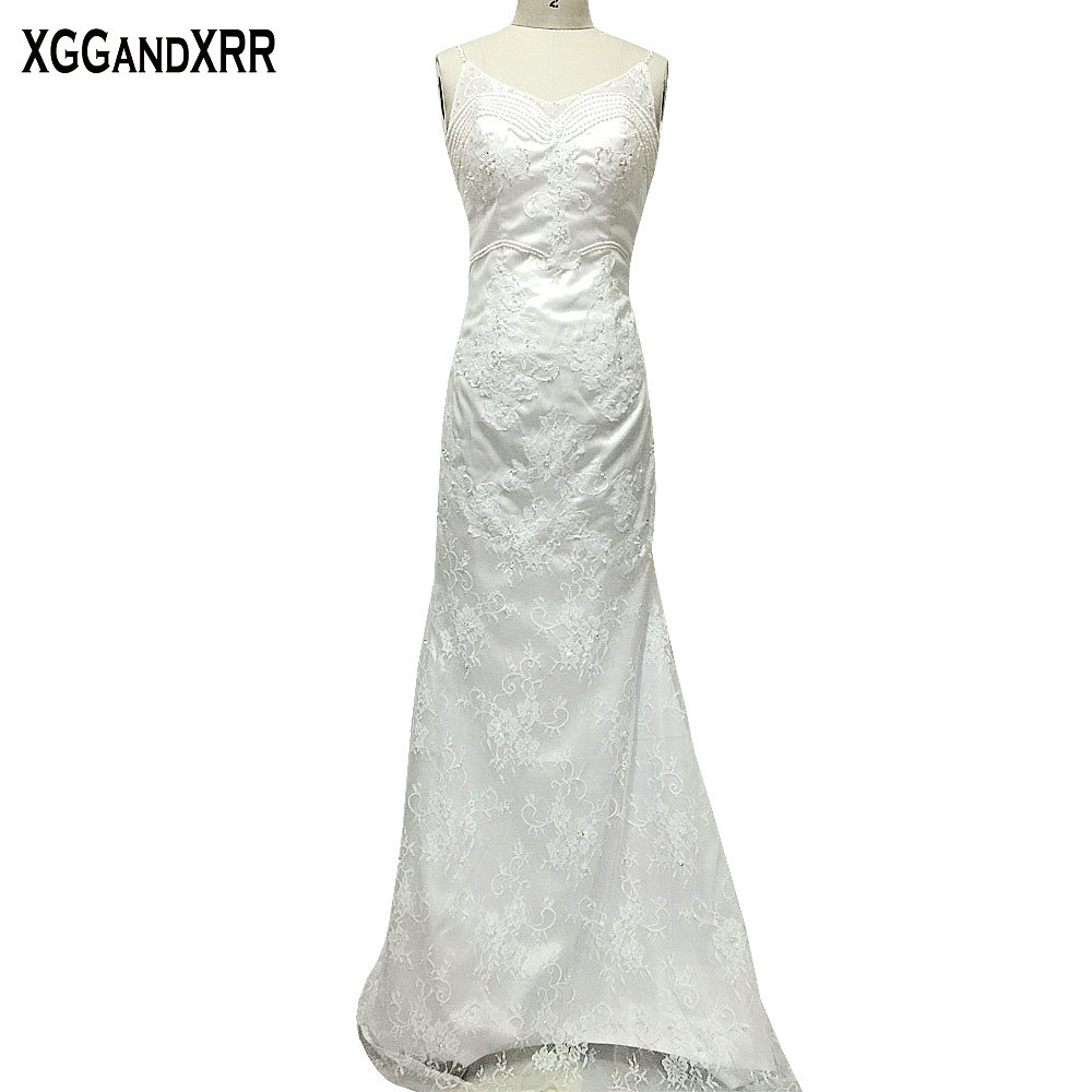 Elegant Lace Mermaid Wedding Dresses 2017 Appliques Beaded V Neck Bridal Dresses Spaghetti Straps Sexy Backless Vestido De Noiva