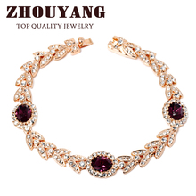ZHOUYANG Top Quality ZYH121 Green Crystal Purple Crystal Rose Real Rose Gold Color Bracelet Genuine Austrian