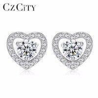 CZCITY Classic Tiny Zircon Inlay Heart Shape 925 Sterling Silver Stud Earrings for Women Delicate Girl Earrings Fine Jewelry