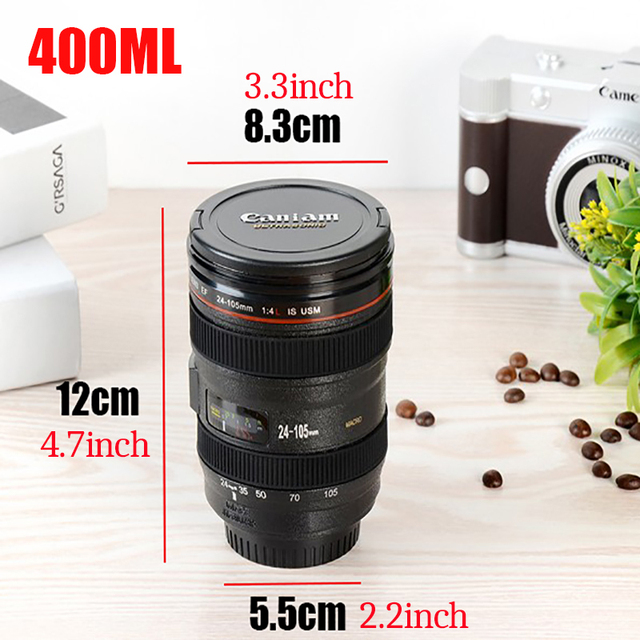 2019 New Coffee Lens Emulation Camera Mug Beer Mug Wine With Lid Black Plastic Cup Caniam Logo Mugs Cafe 400ml 3