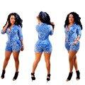 Горячие модные элегантный стиль 2016 джинсовые комбинезоны летние короткие комбинезон женщины печати комбинезон SMR8086