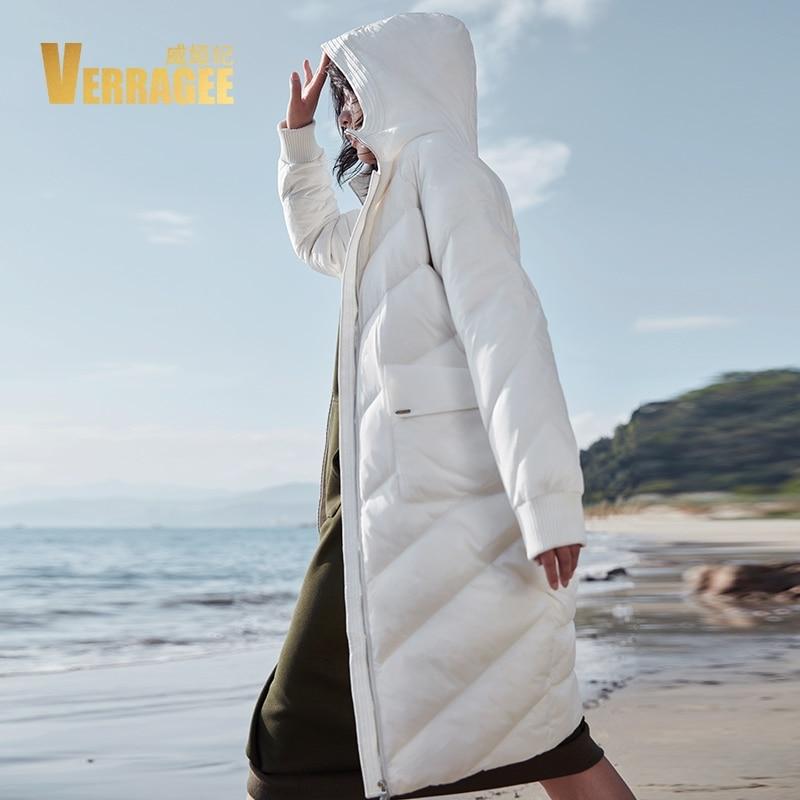 VERRAGEE Brand 2018 New Casual Winter Loose Warm Jacket Hooded Women Overcoat Pocket Long 90 White Duck Down Coat