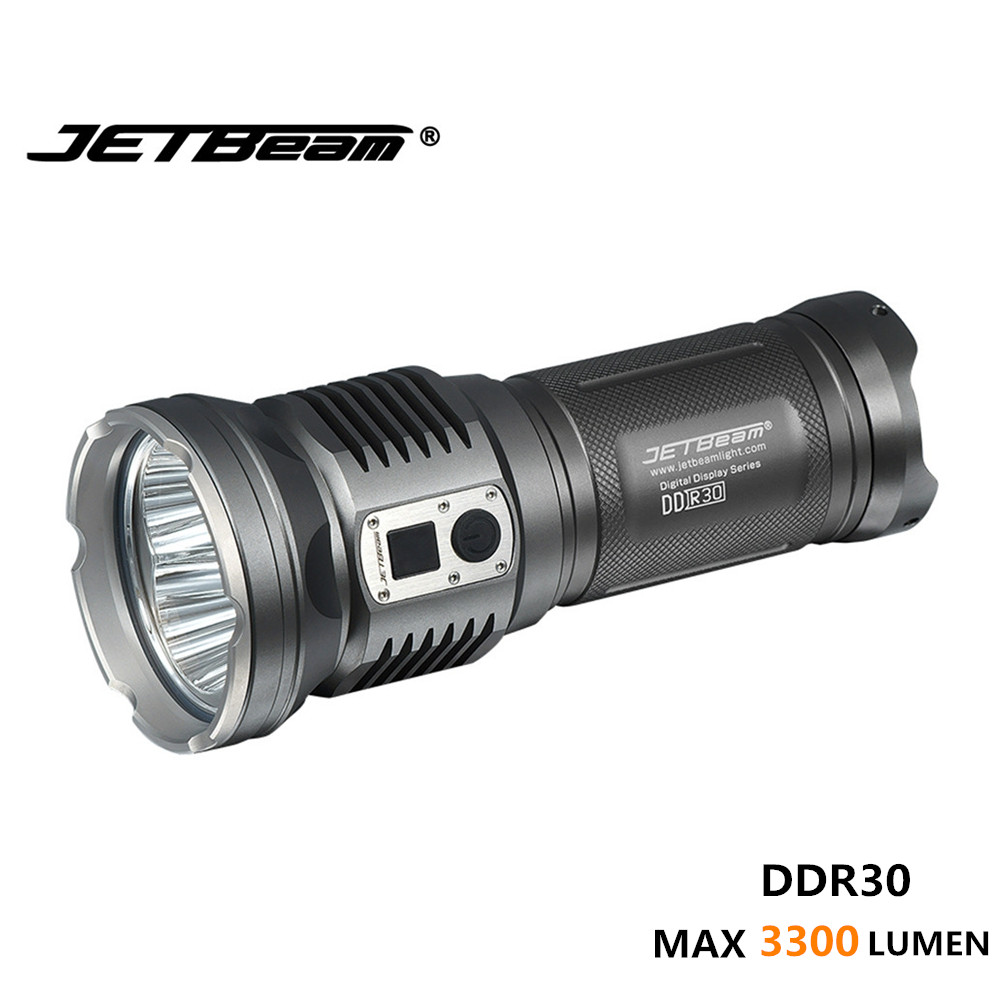 Super bright torch JETBeam DDR30 3*Cree XM-L2 LED MAX 3300 lumens IPX-8 rechargeable flashlight camping light photography