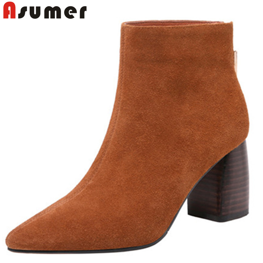 ASUMER 2018 fashion autumn winter shoes woman pointed toe zip ladies boots thick high heels ankle boots women suede leather купить в Москве 2019