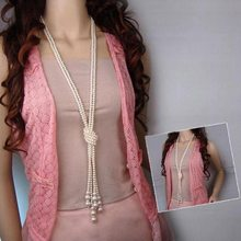 New Fashion Long Knotted Sweater Necklaces Multilayer Imitation Pearl Necklace For Women Wedding Bride Necklace(China)