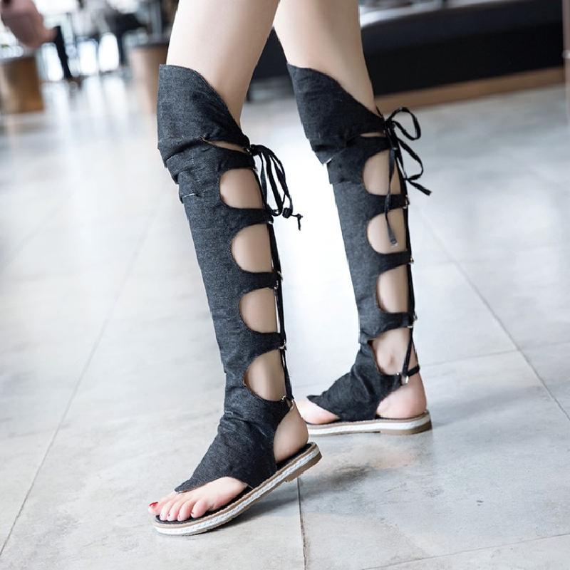 Nouvelles chaussures d'été pour femmes mode Denim genou haute femmes gladiateur sandales Sexy dos croisé noué haut tongs sandales de plage - 3