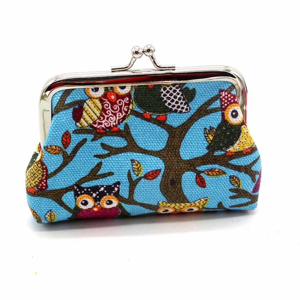 Casuais de negócios de moda das mulheres da menina bonito estilo saco de embreagem carteira das senhoras carteira pequena fivela coruja cartão de banco de moeda de troca crédito