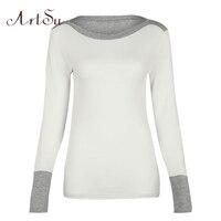 ArtSu Autumn Patchwork Knitted T Shirt For Women Tops Long Sleeve Basic Casual Tee Shirt Femme