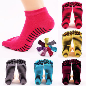 Women Cotton Active Toe Colorful Non Slip Massage Socks Full Grip Socks Heel Ankle Length Socks With 4 Colrs image