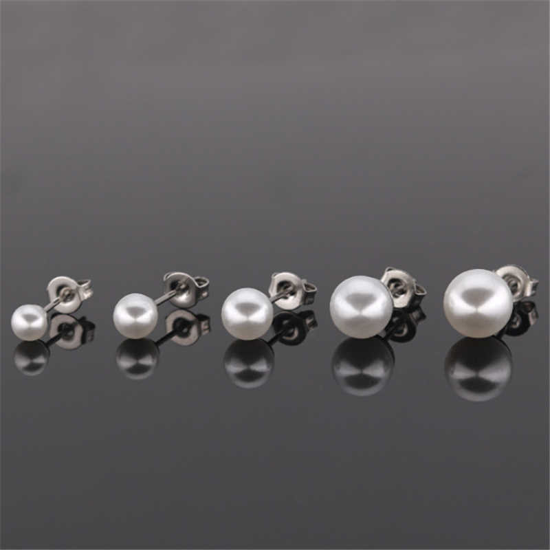 New Arrival Punk Stainless Steel Simulated Pearl Stud Earring Helix Ear Stud Femle Piercings Fashion Jewelry Christmas Gifts