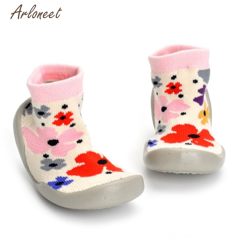 TELOTUNY Yellow Color First Walkers Lovely Girl Boy Flower Soft Socks Shoes Indoor School Sneakers 2017 drop shipped ST26