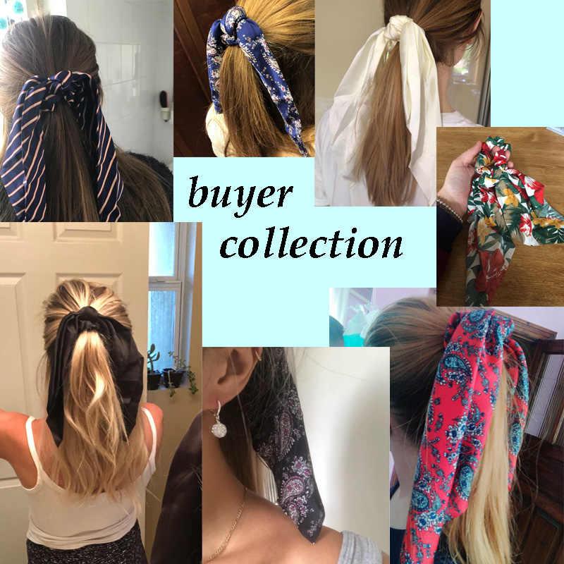 Винтажные женские головные уборы тюрбан DIY лук стримеры резинки для волос конский хвост Галстуки головной убор аксессуары для волос