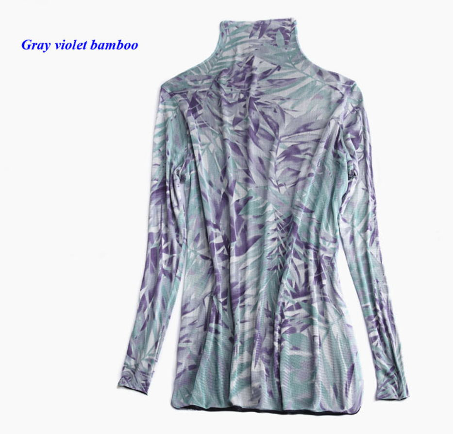 24076fe74b9d3f New arrival pure silk knitted lady turtleneck long sleeve print T shirt
