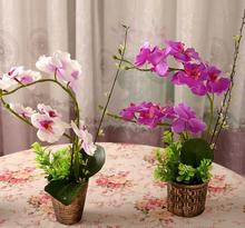 Artificial Bonsai Butterfly Phalaenopsis Orchid With Vase Silk Flower Wedding Floral Christmas