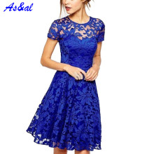 Women Floral Lace Vestidos Short Sleeve Summer Party Casual Mini Dresses