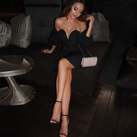 2018 Sexy Lantern Sleeve Off Shouder Hollow Out Black Party Dress V Neck Backless Club Mini Dress A line Open Back Zipper Dress