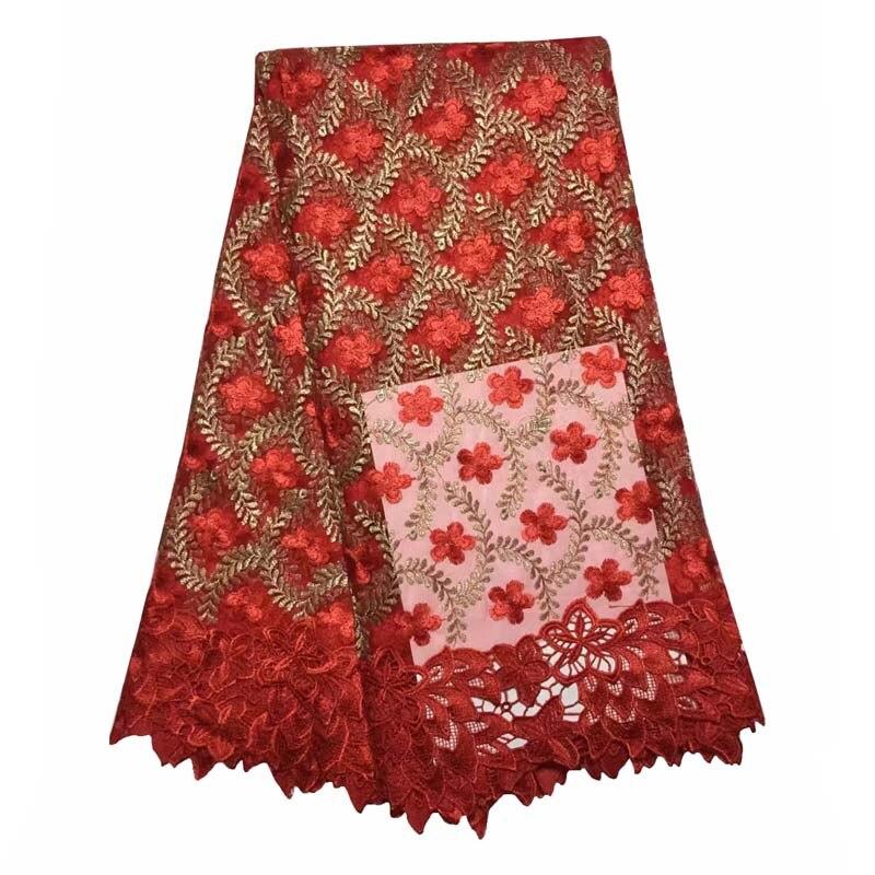 1fee37358b13c Africano francês laço nupcial Com 5 Metros de Malha Bordado Do vestido de  Casamento Tulle Lace Elegante Tecido de Renda Nigeriano WKS45-74