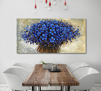 Hot Sale Hand Made Thick Blue Tree Original Painting Large Abstract Art Wall Decor Palette Knife Textured Oil Painting On Canva