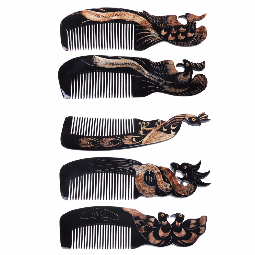 MAANGE Natural Massage Healthy Combs  Ox Horn Comb Hand Carved Hair Loss Treatment Brush