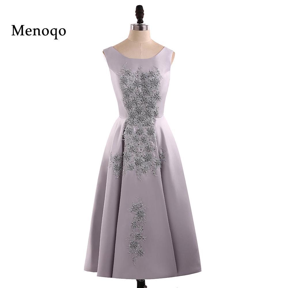 Menoqo 2019 New fashion vestido de noiva short design lace up back bridal party   cocktail     dresses