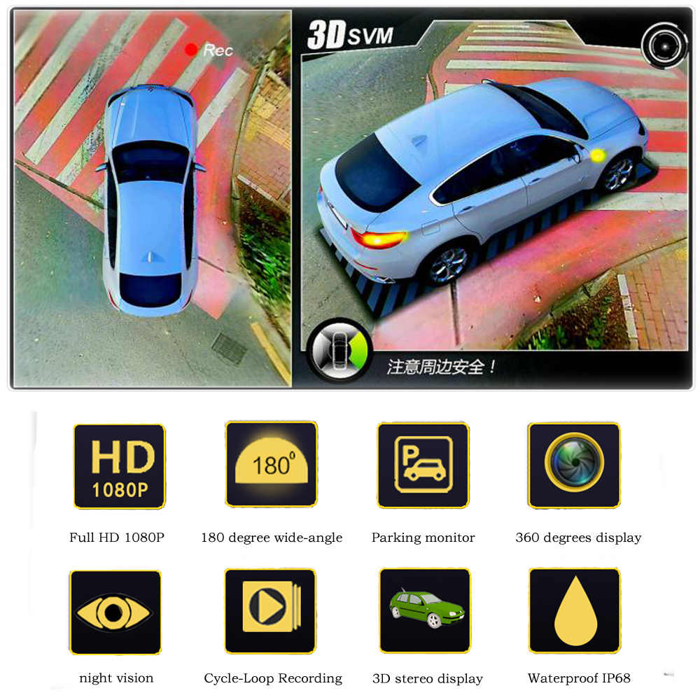 Podofo 2018 новейший Автомобильный цифровой видеорегистратор HD 3D 360 панорамный обзор системы вождения с птичьим видом панорамная система 4 Автомобильная камера 1080 P DVR g-сенсор