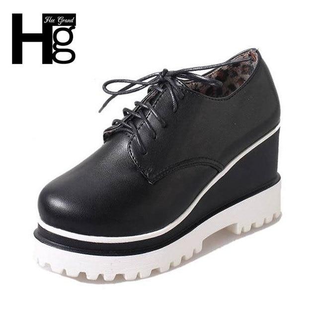 ХИ GRAND Сплошной Цвет Черный Белый женская Обувь 2017 Круглый Toe Lace-up Pattern Высокие Ботинки Платформы для женщина XWC1050