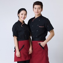 Cooking suit short-sleeved summer men and women kitchen Western restaurant canteen cake shop hotel chef uniforms tooling YF46