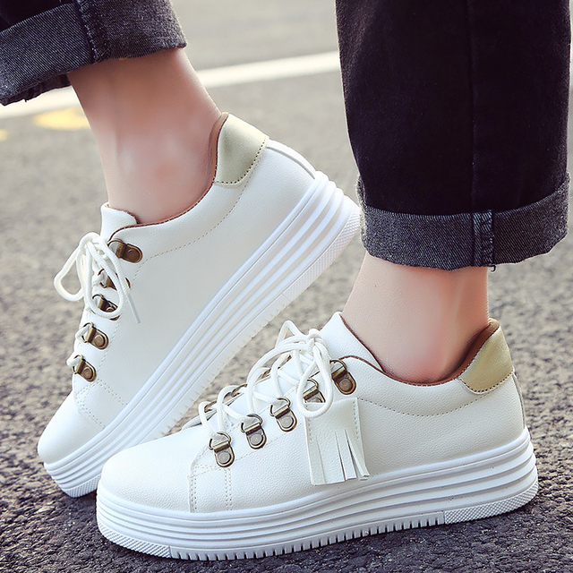 566dd5c69a Platform sneakers women shoes superstar tassel fringe solid white shoes  casual brand ladies shoes sneaker chaussure femme
