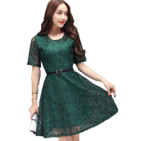 נשים קיץ נחמד שמלת תחרה פרחי וו חלול שרוולים קצרים שמלות סביב צוואר השמלה לשלוח חגורת רוכסן מותניים גבוהים LU18