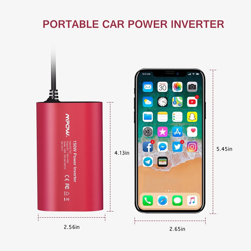 VicTsing Car Power Inverter DC 12V to 110V AC Converter QC 3.0 Portable Car Adapter 150W Power Inverter Adapter with Dual USB    (3)