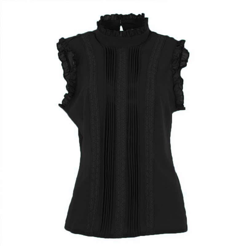 Women Ruffle Stand Collar Slim T-Shirt Tops Lady Casual Lace Sleeveless Shirt Ladies Tee Green/White chiffon 1