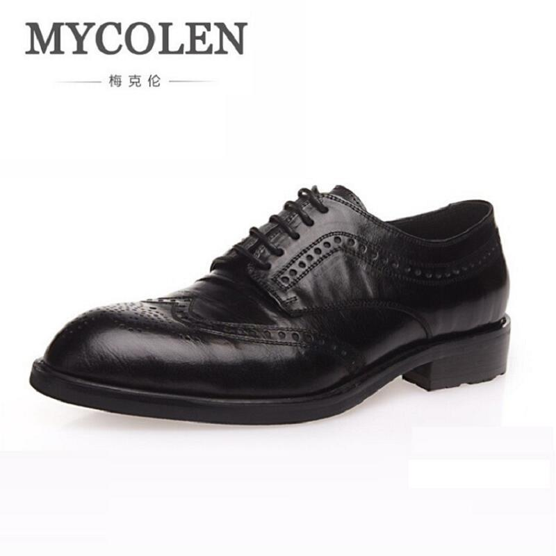 MYCOLEN New 2018 Luxury Leather Brogue Mens Flats Shoes Casual British Style Men Oxfords Vintage Brand Dress Shoes For Men qffaz new 2018 luxury leather brogue mens flats shoes casual british style men oxfords fashion brand dress shoes for men lace up