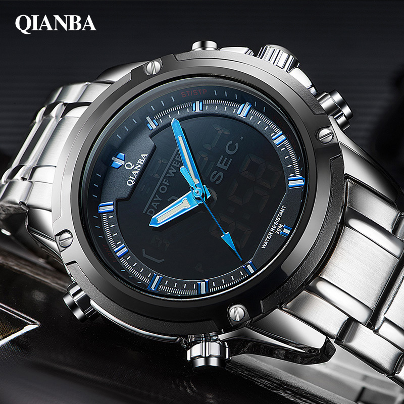 Luxury Brand Men Military Sports Watches For Men's Quartz LED Digital Hour Clock Male Full Steel Wrist Watch Relogio Masculino luxury brand men military sports watches for men s quartz led digital hour clock male full steel wrist watch relogio masculino