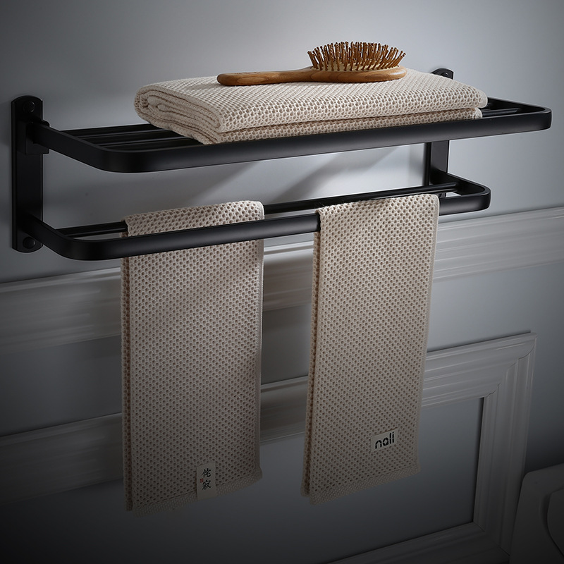 Bathroom Towel Rack Aluminum Alloy 50 60 cm Black Oil Brushed Foldable Fixed Bath Towel Holder