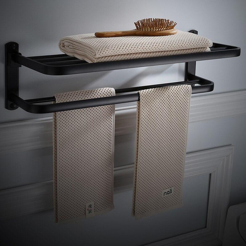 Bathroom Towel Rack Aluminum Alloy 50-60 Cm Black Oil Brushed Foldable Fixed Bath Towel Holder Folding Bath Shelves Towel Rail