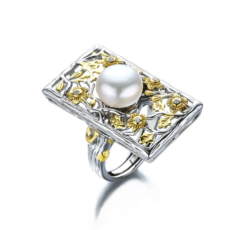 925 sterling silver 10mm pearl rings gold Baroque style handmade flowers faceplate natural freshwater pearl rings