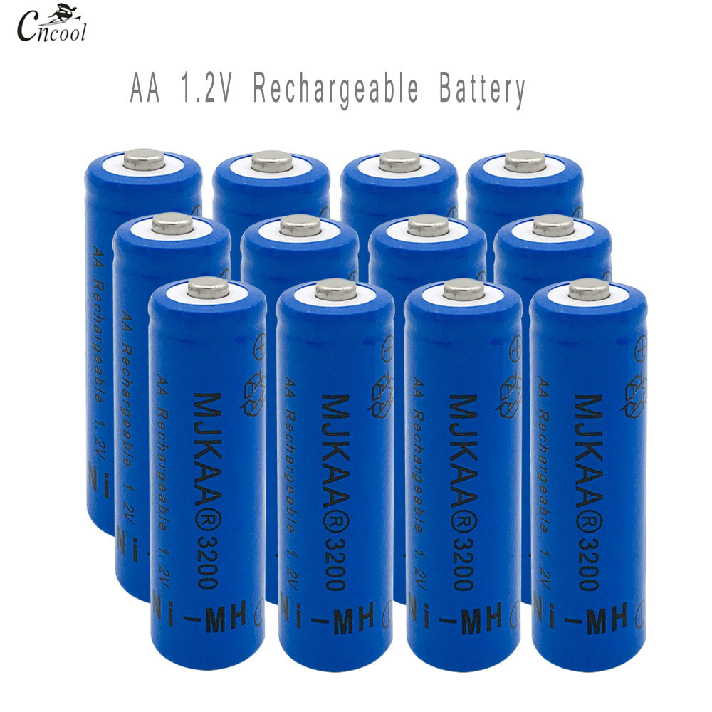 12pcs AA Ni-MH 3200mAh Battery 2A Batteries 1.2V AA Rechargeable Battery NI-MH battery for Remote control Toys LED lights