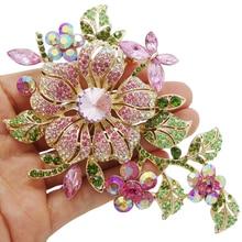 Большой элегантный розовый кристалл цветок брошь горный хрусталь булавка Романтическая свадьба невесты большие броши для женщин ювелирные изделия