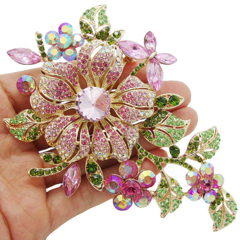 Big New Elegant Pink Crystal Flower Brooch Rhinestone Pin Romantic Wedding Bride Bridesmaid Large Brooches For Woman Jewelry