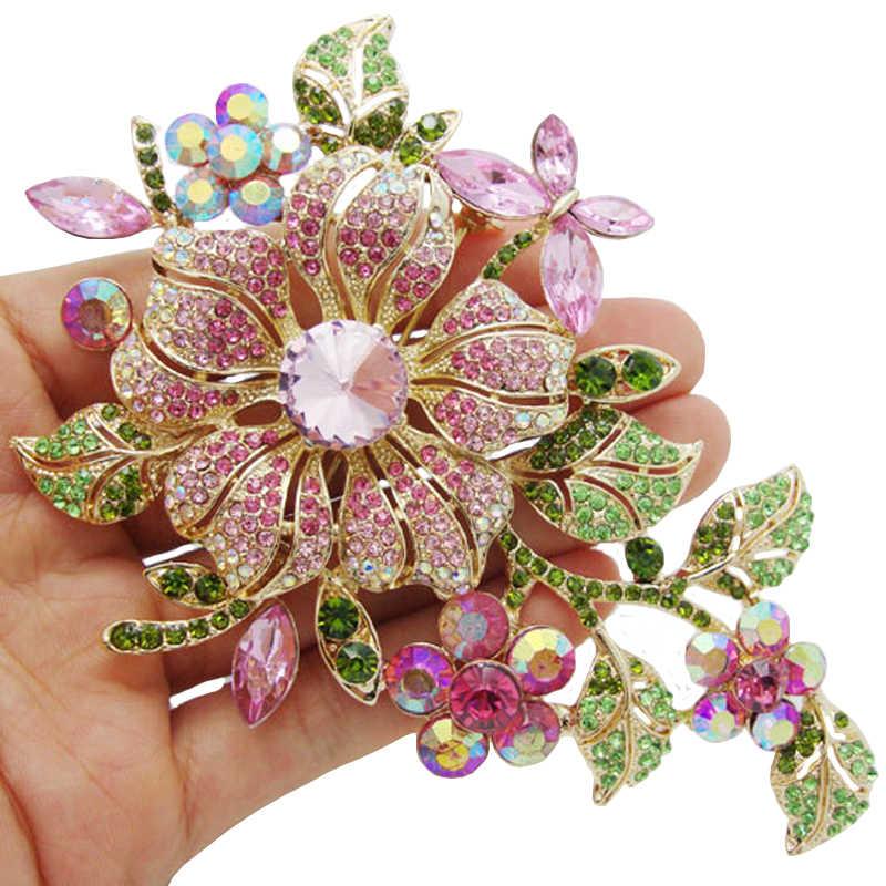 Besar Baru Elegan Berwarna Merah Muda Kristal Bunga Bros Berlian Imitasi Pin Romantis Pernikahan Pengantin Pengiring Pengantin Besar Bros untuk Wanita Perhiasan
