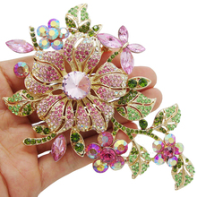 New Elegant Pink Crystal Flower Brooch Rhinestone Pin Romantic Wedding Bride Bridesmaid Brooches and Pins Jewelry