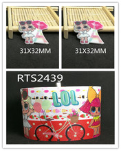 3inch 50yard ribbon and 50pcs resin 1 set printed cartoon printed ribbon and resin RTS2439