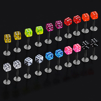 New and hot!  20 Pcs Mixed Cube Dice Lip Ear Studs Rings Tragus Labret Body Piercing Bars