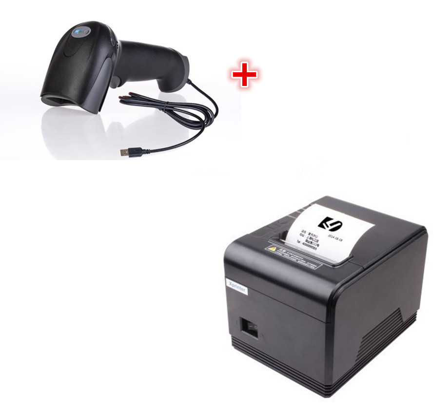 1 scanner+brand new High quality pos printer 80mm thermal receipt Small ticket barcode printer automatic cutter wholesale brand new 80mm receipt pos printer high quality thermal bill printer automatic cutter usb network port print fast